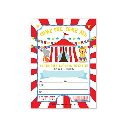25 Carnival Circus Elephant, Lion Carousel Ticket Striped Kids Birthday Party Invitation, Vintage Themed Girl or Boy Invite Idea, Baby Shower Children or Toddler Bday Card, Printable Template Supplies]()