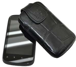 Suncase original funda para/HTC Explorer/piel con lengüeta para extraer el móvil (compatible con) relieve-negro