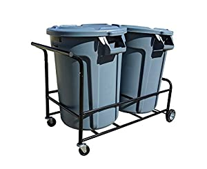 Amazon Com Trash Can Cart Color Black Holds Two Normal