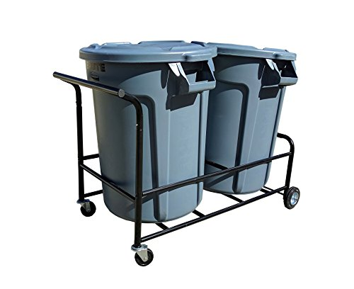 Trash Can Cart – Color Black– Holds two Normal trash cans –- Four (4) Rubber Wheels