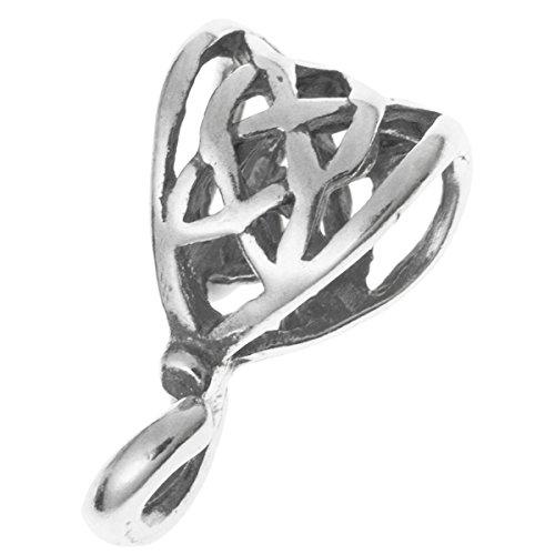 2 pcs 925 Sterling Silver Filigree Flower Bail Pendant Connector European Charm Holder