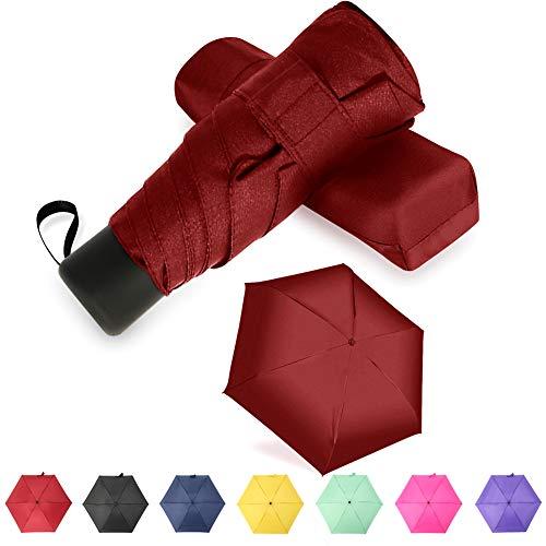 YUI Galleria Travel Mini Umbrella Sun&Rain Lightweight Totes Small and Compact Suit for Pocket Red ... (With Rain Lights Umbrella)