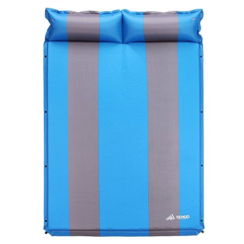 SEMOO 2 Person Self-Inflating Camping Sleeping Pads, 190T Polyester Water Repellent Coating Mat with Attached Inflatable Pillow