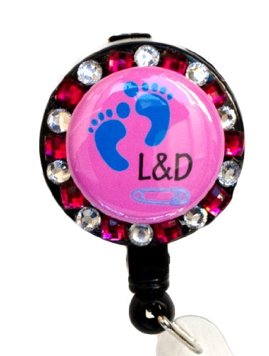 SIZZLE CITY New Custom Bling Rhinestone Labor & Delivery Nurse Badge Reel Retractable ID Badge Holder Photo #3