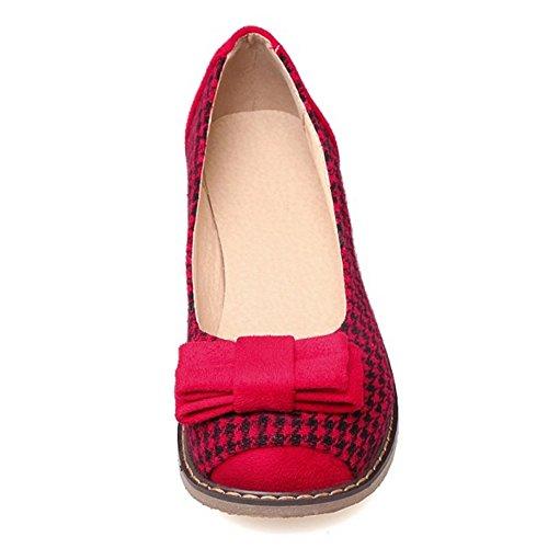 COOLCEPT Mujer Moda sin Cordones Bombas Cerrado Plano Zapatos con Bowknot Rojo