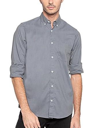 f39dbbadde0 Nick   Jess Mens Solid Grey Semi Formal Cum Casual Oxford Cotton Slim Fit  Shirt