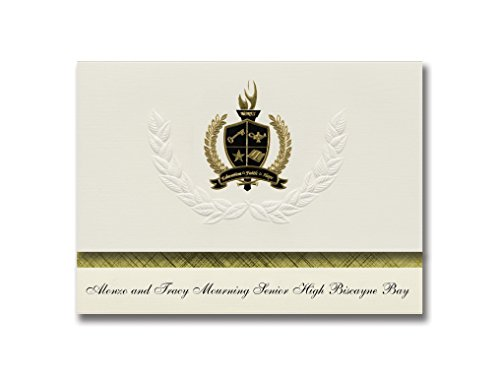 Signature Announcements Alonzo and Tracy Mourning Senior High Biscayne Bay (Miami, FL) Graduation Announcements, Presidential Basic Pack 25 w/ Gold & Black Foil - Biscayne Bay Miami