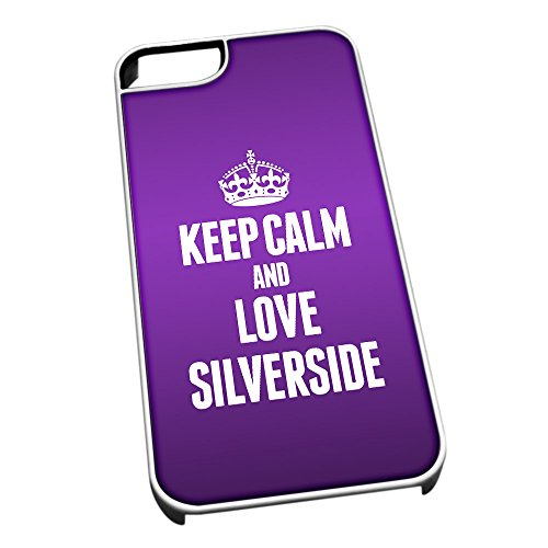 Bianco Cover per iPhone 5/5S 1528Viola Keep Calm And Love rotondo