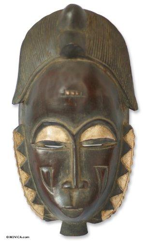 NOVICA Decorative Large Sese Wood Mask, Brown 'Male Baule Fertility Mask'