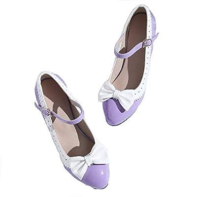 HILIB Woman's high Heel Lolita Shoes Cute Bowknot Mary Jane Shoes Purple 9.5 | Pumps