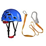 MagiDeal Outdoor Mountaineer Helmet + Rock Climbing Safety Harness Belt Lanyard with Carabiner Buckle