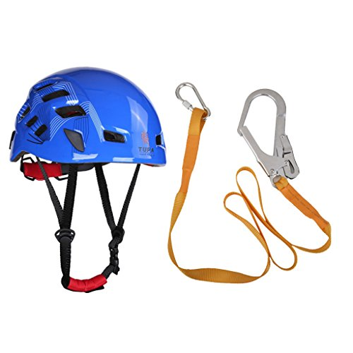 MagiDeal Outdoor Mountaineer Helmet + Rock Climbing Safety Harness Belt Lanyard with Carabiner Buckle by MagiDeal