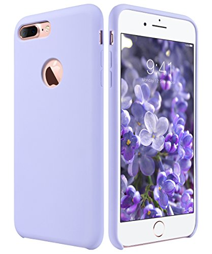 Purple Silicone Protective Case (iPhone 7 Plus Case, iPhone 7 Plus Case Slim Silicone, ULAK Purple Shock Absorbing Liquid Silicone Gel Rubber Shockproof Case Cover with Soft Microfiber Cloth Lining Cushion for Apple iPhone 7 Plus)