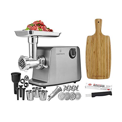 ChefWave Electric Meat Grinder FDA Approved - Stainless Steel Heavy Duty 1800W Max 3-Speed - 4 Grinding Plates, 3 Cutting Blades, Tomato Juicer, Sausage Stuffer Tubes + Cutting Board + Sausage Pricker