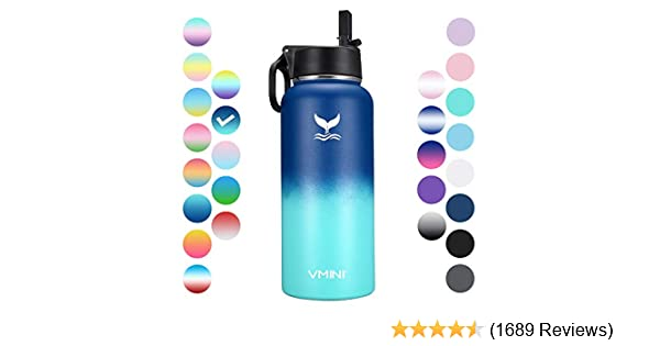 Stainless Steel Water Bottle w// Straw Wide Mouth Double Wall Vacuum Insulated US