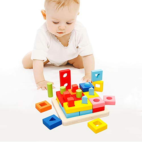 Wondertoys Preschool Wooden Shape Sorter Puzzle Geometric Blocks Stacking Games Educational Toy for 2 3 4 Years Old Toddler
