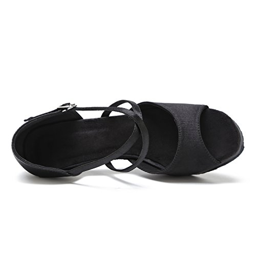 Minishion Gl238 Piattaforma Delle Donne Cinturino Alla Caviglia Raso Latino Sala Da Ballo Tango Salsa Scarpe Da Ballo Festa Di Nozze Sandali Prom Nero-8cm Tacco