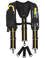 Tool Belt jarretels,Heavy Duty Elektricien Tool Riemen,Multi-Pockets Elektricien's Bag met lumbale ondersteuning voor timmerman elektricien werk schorsing Rig