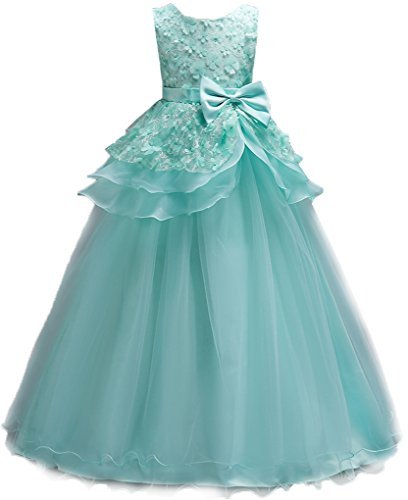 Shiny Toddler Little Girls Princess Birthday Party Ball Gown Floor Length Dress 7-8,Green