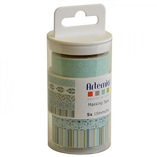 Artemio 11060335 Set de 5 Masking Tape, Papier, Vert, 5,5 x 5,5 x 12,5 cm Artémio