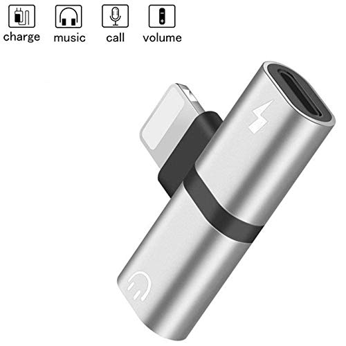 - Headphone Jack Adapter for iPhone 7/7Plus/8/8Plus/X/XS/XR/XS Max, 2 in1 Earphone & Charge Dual Splitters Cables Accessories, AUX Audio Convertor Headset Dongle Connector Fast Car Adapter Silver Black