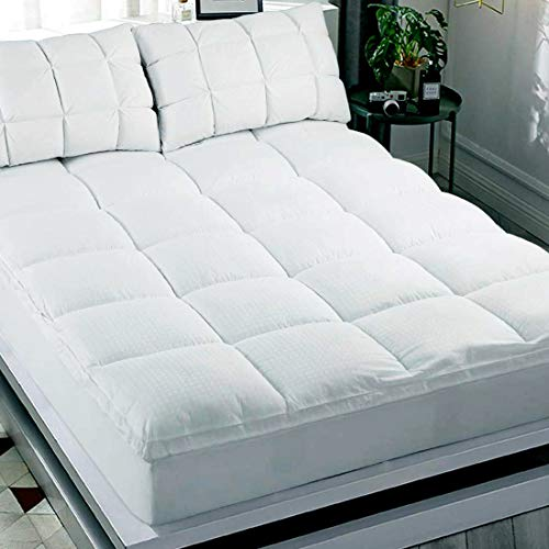 Abakan Extra Thick Mattress Topper California King Size Soft Mattress Pad Cover Cooling Cotton Top Pillow Top Quality 8-21Inch Deep Pocket Down Alternative Fill Bed - Pad Mattress White Down
