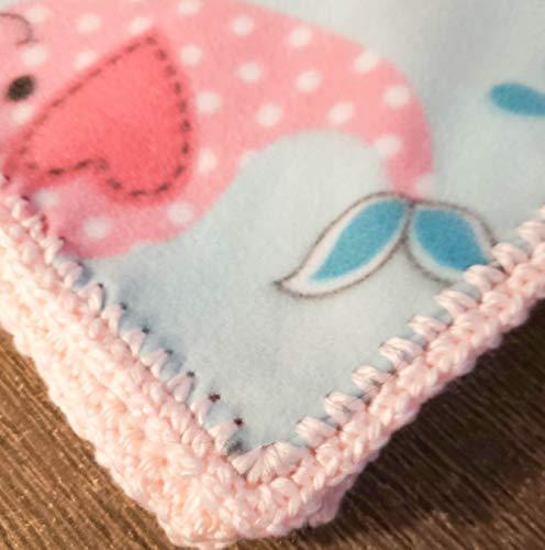 Amazoncom Pink Whales Crochet Edge Baby Blanket Keepsake Handmade
