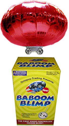 RED Radio-Controlled Baboom Flying Saucer (Indoor Blimp/Balloon) 27MHz RC UFO Red Mylar Balloon -
