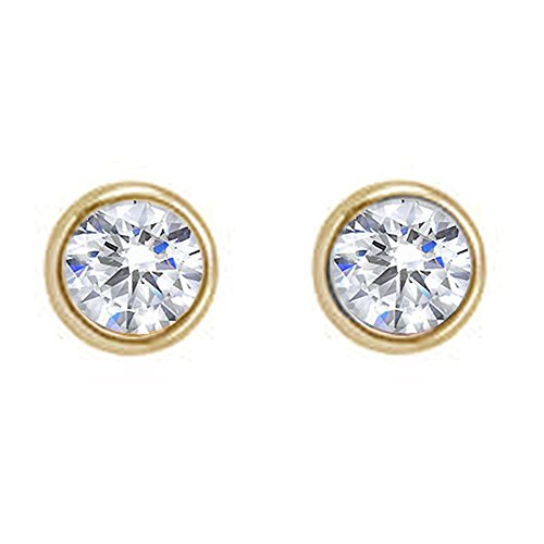 (2-10MM Sterling Silver Round Bezel Set Cubic Zirconia Earring Studs BEST Gift! (2mm, yellow-gold-plated-silver))