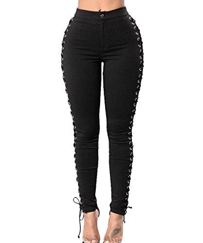 (Women Black Side Hollow Out Cross Pants Bandage Bodycon Leggings Club)