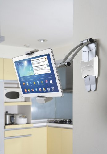 CTA Digital PAD-KMS 2-in-1 Kitchen Tablet Stand and Adjustable Wall Mount - for iPad 2018/iPad Pro 12.9/mini/Galaxy Tab S3/more