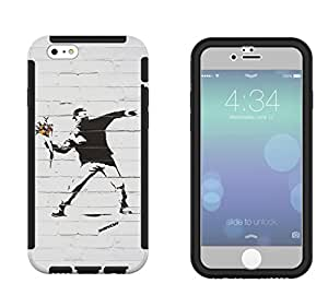 549 - Banksy Grafitti Art Flower thrower Design iphone 5 5S Full Body CASE With Build in Screen Protector Rubber Defender Shockproof Heavy Duty Builders Protective Cover