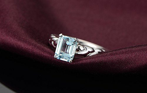 Solid 18K white promise ring,solitaire Diamond Engagement ring, Emerald 1.50ct Natural VVS blue Aquamarine,Prong set