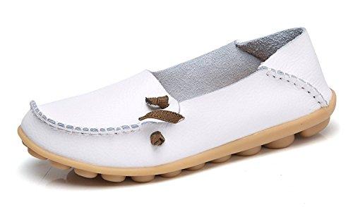 Tiosebon Kvinners Komfort Vandre Tilfeldig Skinn Loafers Kjøring Mokasiner  Flats Sko Xxh911-5 Hvite