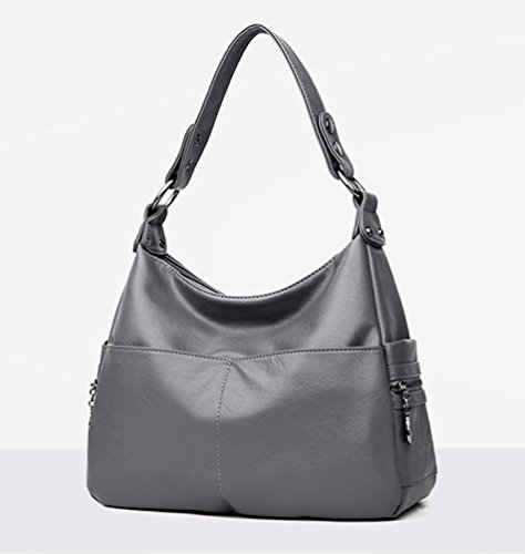 Tote Handbags Yaancun Shoulder Wash Capacity Skin Bag Bag Hobo Large Bag Shoulder Gray gHqdx8rg