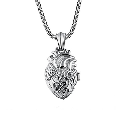 (LBFEEL Stainless Steel Anatomical Organ Heart Pendant Necklace for Men with a Gift Box (White))