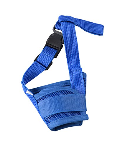 Freerun Dog Muzzle for Barking Biting Chewing Licking Nylon Mesh Comfortable Adjustable Velcro for Small Medium Large Dogs Puppy Anti Bite Chew Bark Lick Allow Drinking Walking - Blue, XL