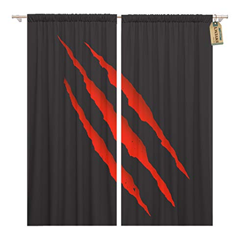 Golee Window Curtain Scratch Red Bloody Claw Deep