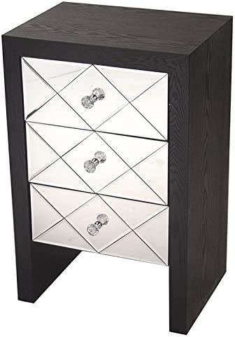Black 28 x 17.7 Heather Ann Creations Wooden 3 Drawer Chest//Console