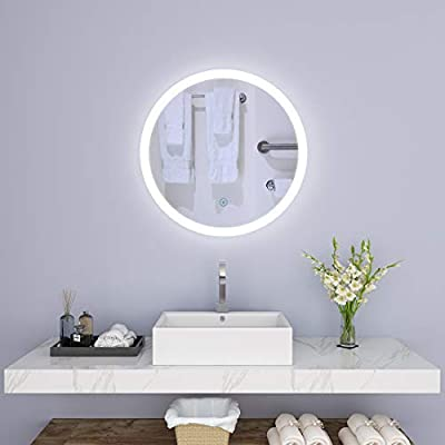 "SUNNY SHOWER Circle Backlit Led Bathroom Vanity Sink Silvered 4mm Mirror with Touch Button, 24"" L"