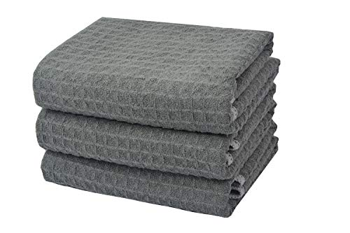 sh Towels 3 Pack Waffle Kitchen Cleaning Towels Super Absorbent Dish Dying Cloths16 inch X22 inch Grey ()
