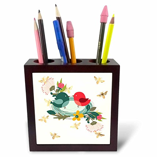 3dRose Amar Singha Art - Nest - Victor Design Of A Nest With Birds And Flowers - 5 inch tile pen holder (ph_280114_1)