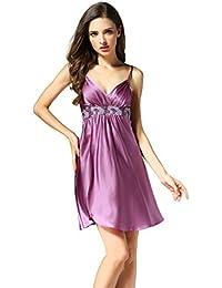 d2cfdbf3f5f4 Women s 100% Silk Nightgown Sexy Suspender Skirt Slip Nightshirt Sleepwear