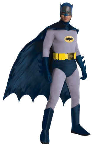 Batman Adult Costumes (Rubie's Costume Grand Heritage Classic TV Batman Circa 1966, Blue/Gray, Standard Costume)