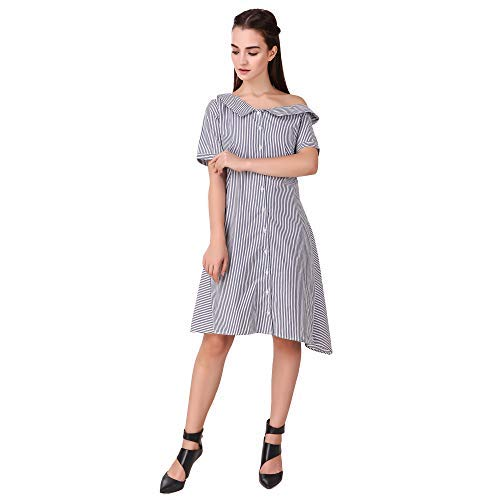 7bdb2c4787a4 Skizo Women s one Off Shoulder Front Open Striped Dress Blue  Amazon.in   Clothing   Accessories