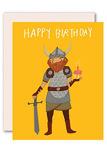 Pencil Joy Viking Birthday Card - Unisex: For Women, Men and Children - Blank Inside - Box of 8 - Size A2 Matching Envelopes