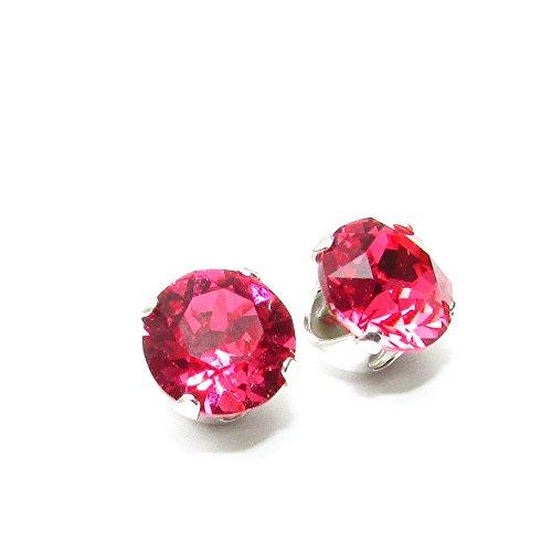 liquidation de stock. Boucles d'Oreilles Puces Argent 925 Fabriqué avec cristal de SWAROVSKI® Indian Pink