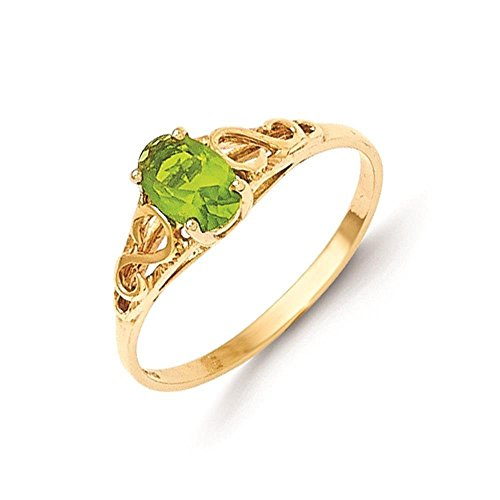 14k Yellow Gold Polished & Textured August Birth Month Stone Kids Ring Size 5 by Madi K by Venture Children's Collection