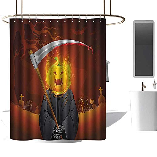 homehot Shower Curtains for Bathroom Star Wars Halloween Decorations,Pumpkin Grim Head Burning Flames Character Scary Creature Nightmare,Orange Grey,W36 x L72,Shower Curtain for -