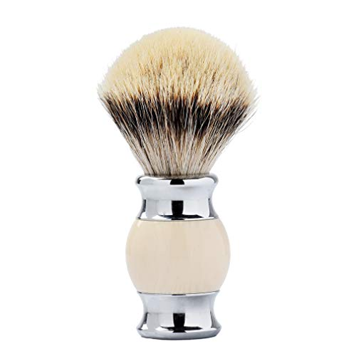 Je&Co 100% Silvertip Badger Hair Shaving Brush, Handmade Shaving Brush with Fine Resin Handle and Stainless Steel Base(Ivory)